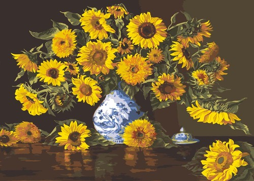 Needlepoint Canvas 50x80cm Sunflowers in a China Vase
