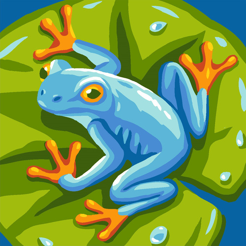 Needlepoint Canvas 40x40cm Blue Frog Pillow Top