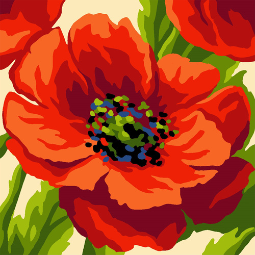 Needlepoint Canvas 40x40cm Summer Poppy Pillow Top
