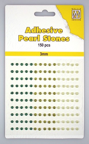 APS302 150 adh.pearls 3mm 3 col green