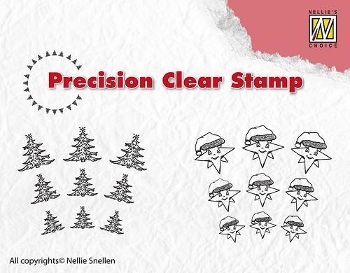 APST027 Precision clear stamps Christmas tree-star