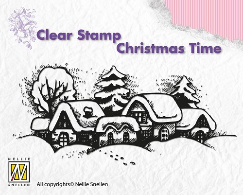 CT009 Clear stamps Christmas time Snowy village