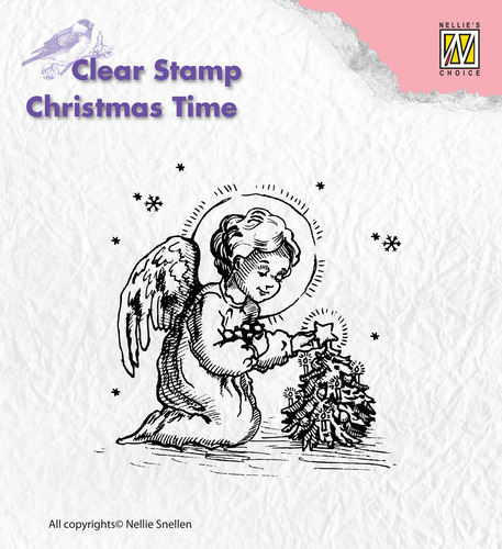 CT016 Clear Stamps Christmas time little angel, decorating