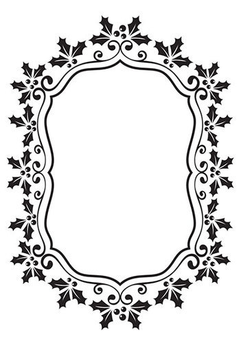 EFE024 Embossing Folder Christmas oval holly frame 106x150mm