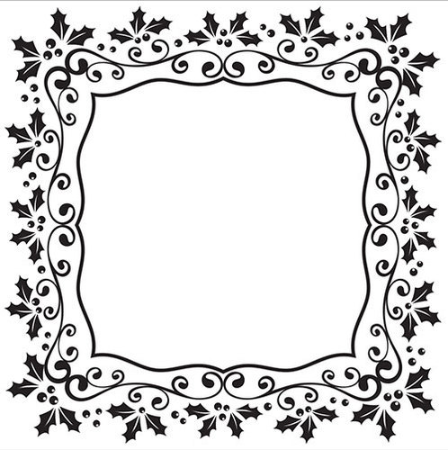 EFE025 Embossing Folder Christmas square holly frame 130x130mm