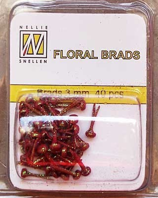 GB006 Floral glitter brads red