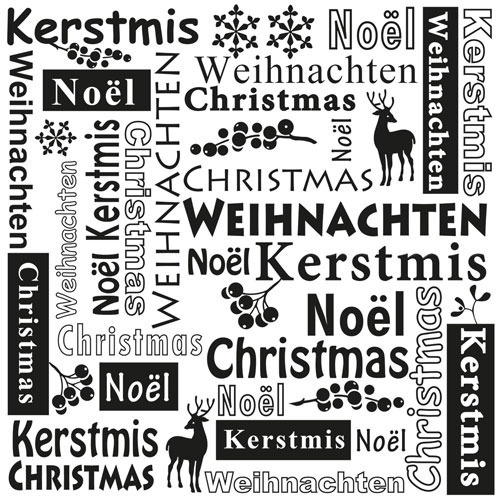 MLTXT001 Multi Language Text Embossing Folders Christmas