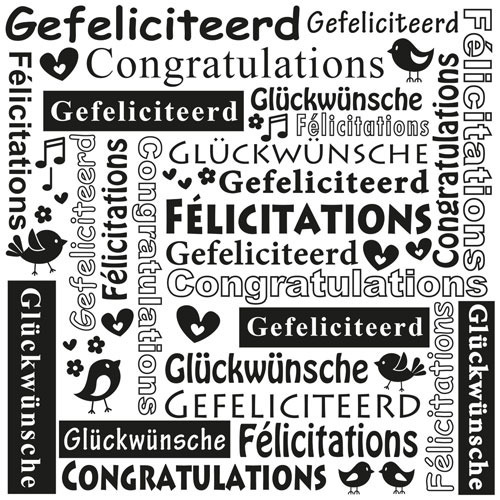 MLTXT002 Multi Language Text Embossing Folders Congratulations