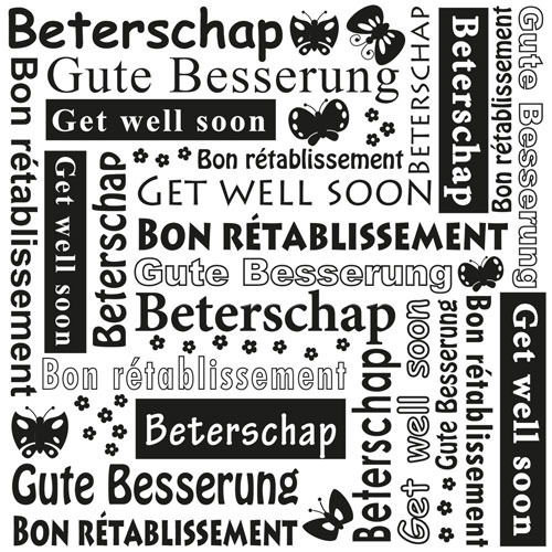 MLTXT003 Multi Language Text Embossing Folders Get well soon