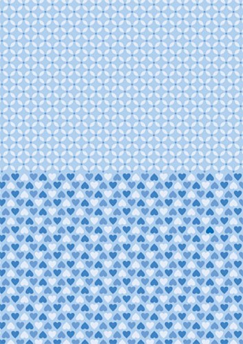 NEVA011 Doublesided background sheets A4 blue hearts