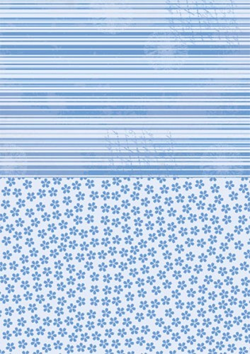 NEVA015 Doublesided background sheets A4 blue flowers