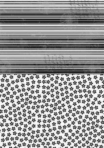 NEVA020 Doublesided background sheets A4 black flowers