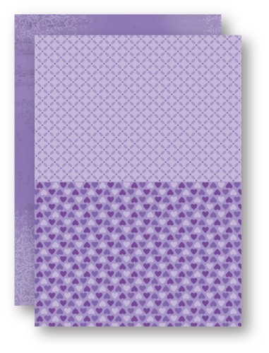 NEVA021 Doublesided background sheets A4 purple hearts