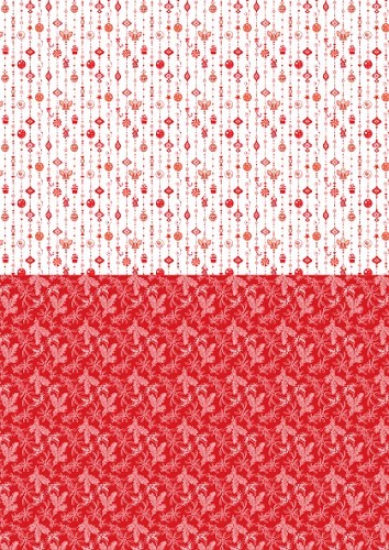 NEVA034 Doublesided background sheets A4 Christmas red ornaments