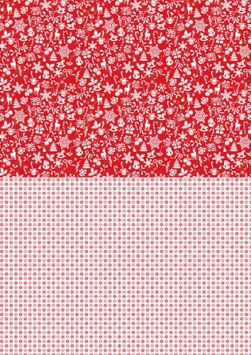 NEVA035 Doublesided background sheets A4 Christmas red snowflakes