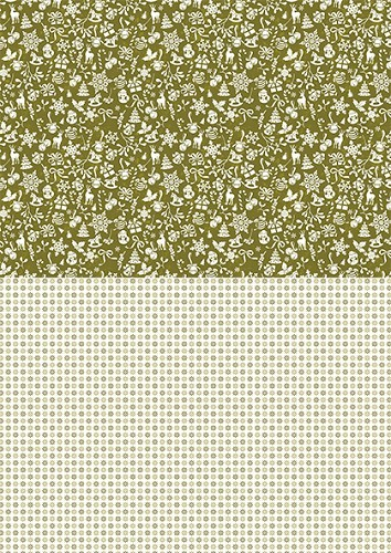 NEVA040 Doublesided background sheets A4 Christmas green snowflakes