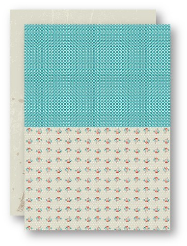 NEVA046 Background Sheets A4 turquoise roses