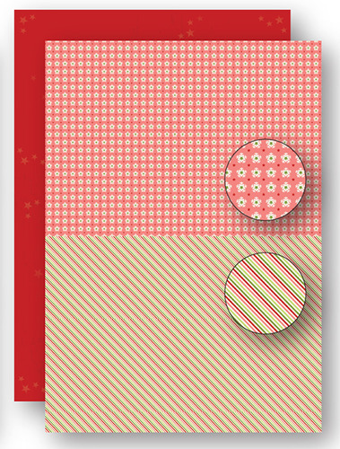 NEVA062 background sheets doublesided Christmas red lines