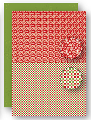 NEVA064 background sheets doublesided Christmas red snowflakes