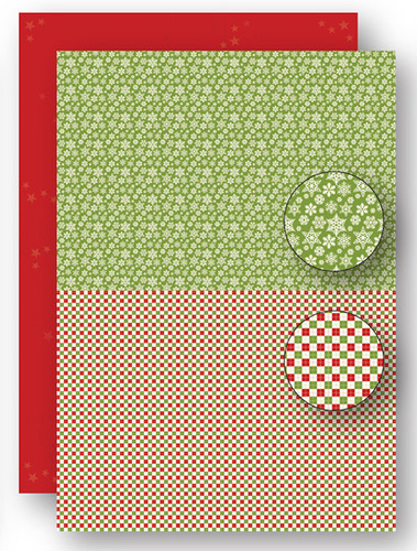 NEVA069 background sheets doublesided Christmas green snowflakes