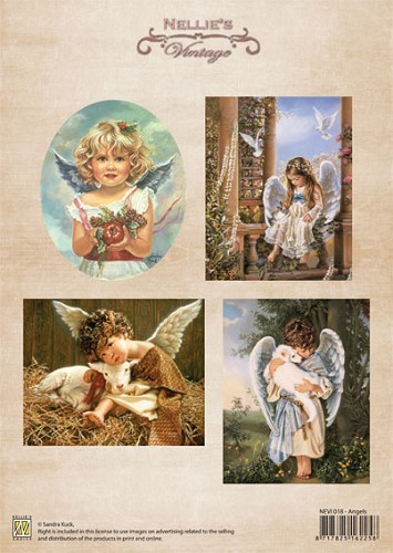 NEVI018 Knipvel A4 10st Christmas colour vintage Angels