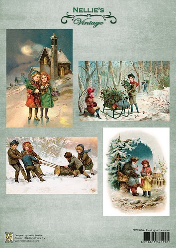 NEVI046 Decoupage sheets A4 Vintage Playing in the snow