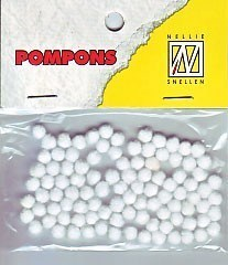 POM001 Mini pompoms 3mm wit 100 stuks
