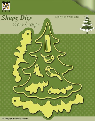 SDL009 Shape Dies Christmas Snowy tree with birds