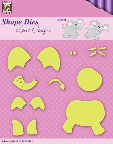 SDL031 Shape Dies Lene Baby serie build-up elephant