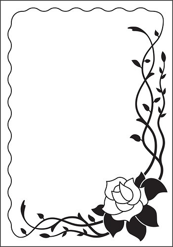 VINF003 Embossing Folder 106x150mm Vintasia Rose frame
