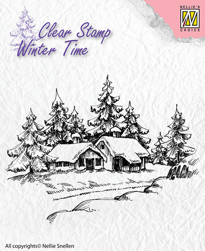 WT002 Clear Stamps Winter Time Wintery house