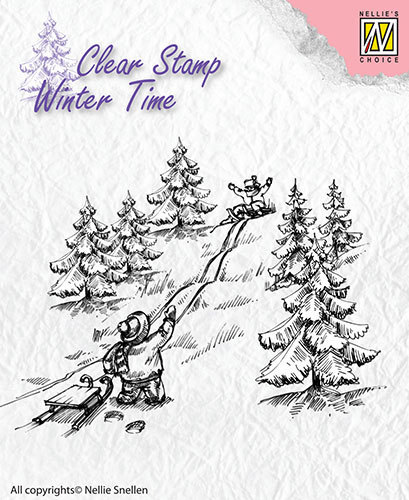 WT003 Clear Stamps Winter Time Sledge fun
