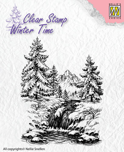 WT004 Clear Stamps Winter Time Winter waterfall