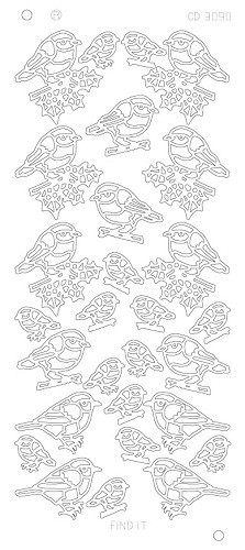 CD3090Z X-mas birds - Zilver