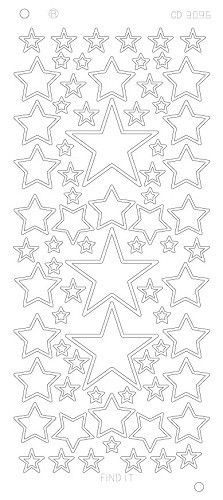 CD3096G Stars various sizes Platinum - Goud