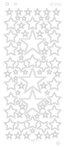 CD3096Z Stars various sizes Platinum - Zilver