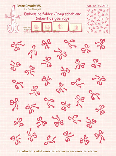 35.2106 Embossing folder background Bows 14.4x16cm