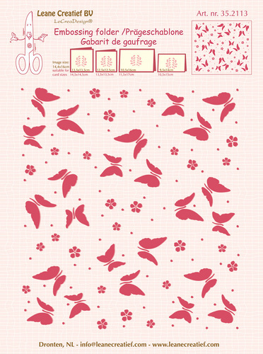35.2113 Embossing folder background Butterflies 14.4x16cm