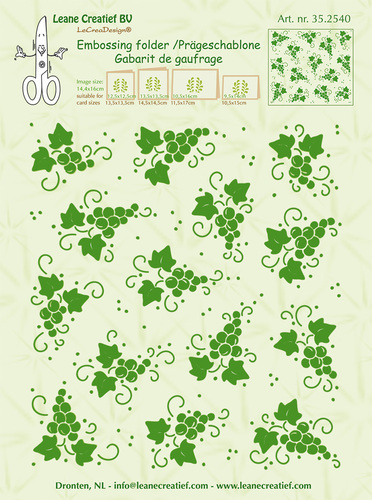 35.2540 Embossing folder background Grapes 14.4x16cm