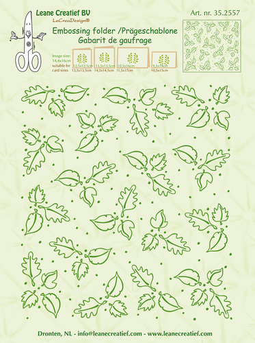 35.2557 Embossing folder background Leaves 14.4x16cm
