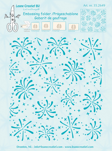 35.2649 Embossing folder background Firework 14.4x16cm
