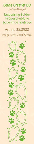 35.2922 Border embossing folder Paws & Hearts 23 x 122mm