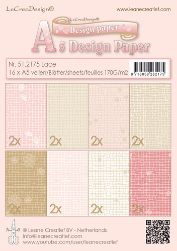 51.2175 Design papier assortiment Lace pink/brown 16xA5 170 gr.