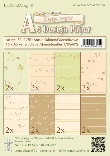 51.2250 Design papier assortiment Music salmon/ green /brown, 16 sheets A5 170 gr.