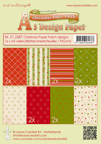 51.2687 Christmas Paper Patch designs green/red 16 sheets A5 170 gr.