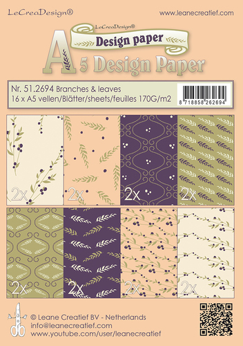 51.2694 Design papier assortiment Branches & Leaves purple /green /ochre 16 sheets A5 170 gr.