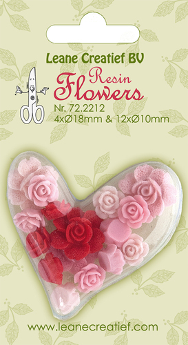 72.2212 Resin flowers Roses pink-red 4x 18mm+12x 10mm.