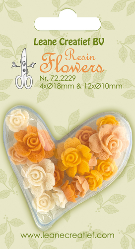 72.2229 Resin flowers Roses yellow 4x 18mm+12x 10mm.