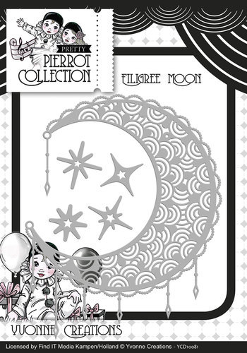 YCD10081 Die - Yvonne Creations - Pretty Pierrot - Filigree Moon