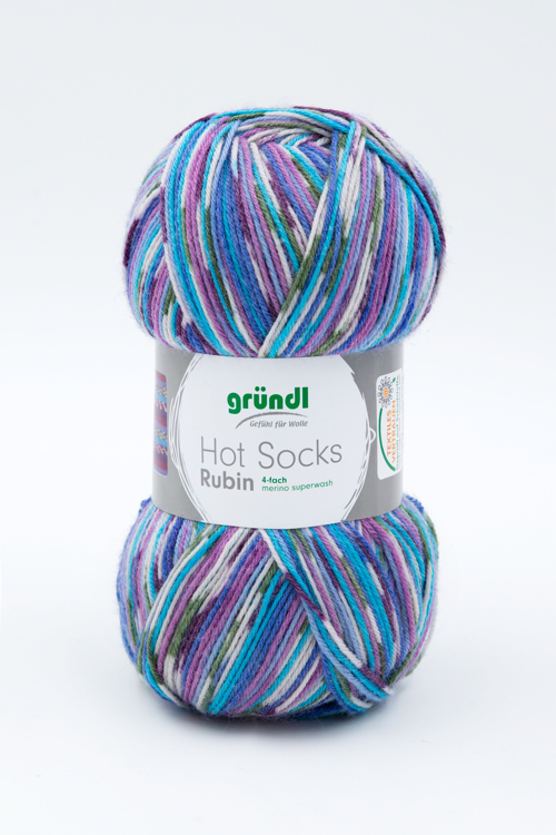 3444-01 Hot Socks Rubin 4 draads 10x100 gram lila/blauw multicolor